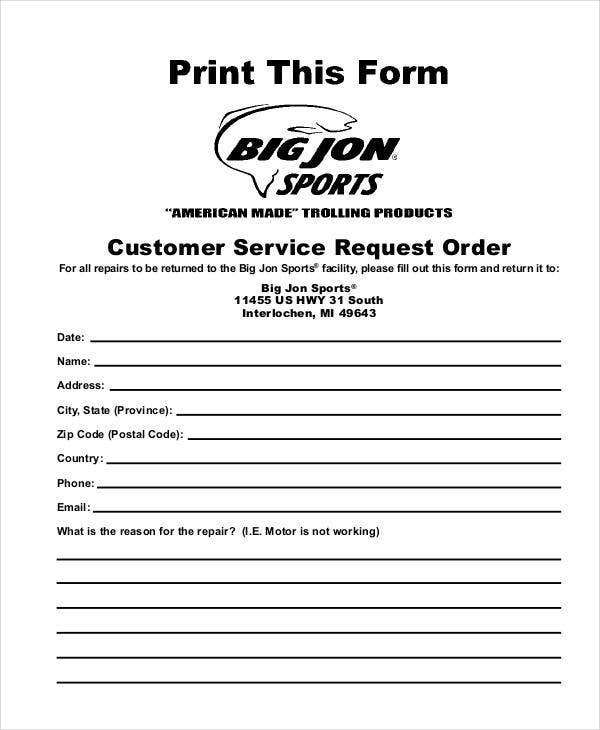 service request order sample