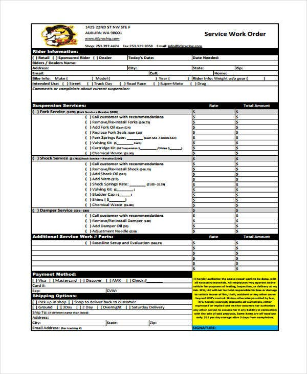 Work Order Templates - 9+ Free Pdf, Format Download | Free