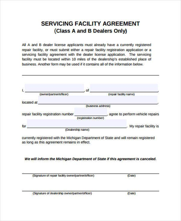 servicing agreement