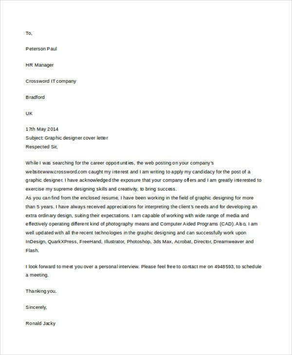 Writing A Cover Letter Design: 9+ Short Cover Letter Templates Examples