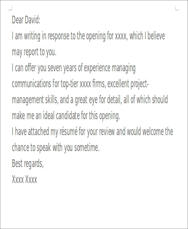Short Cover Letters - 9+ Free Word, PDF Format Download | Free ...