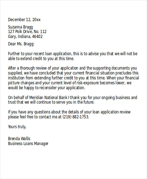 Loan Rejection Letter Templates - 7+ Free Word, Pdf Format