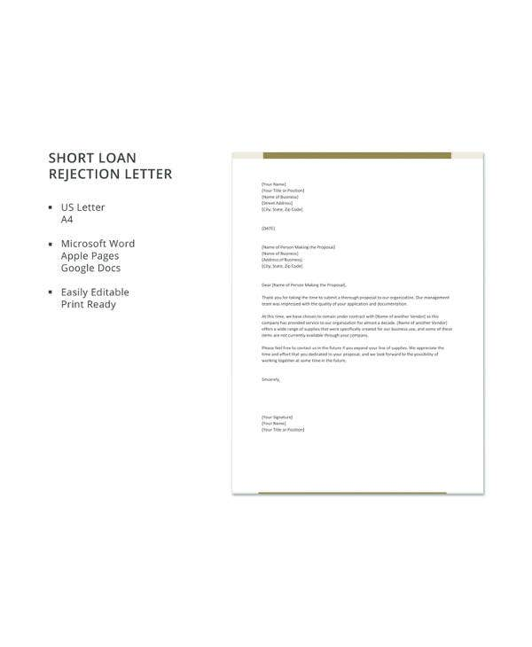 short loan rejection letter1