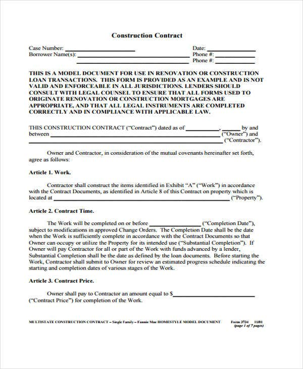 7 Construction Contract Templates Free SampleExample Format – Simple Construction Contract Form