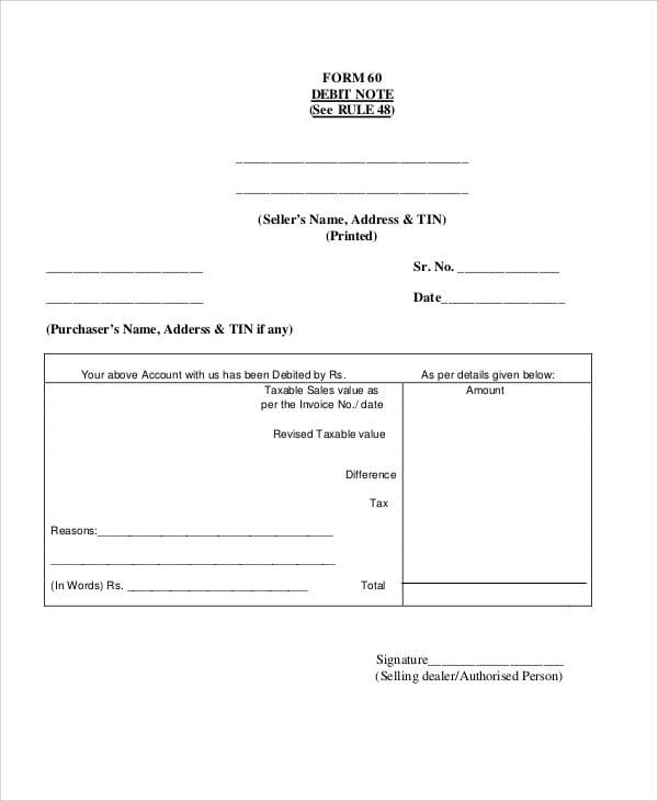 Debit Note Templates 5 Free Word PDF Format Download Free