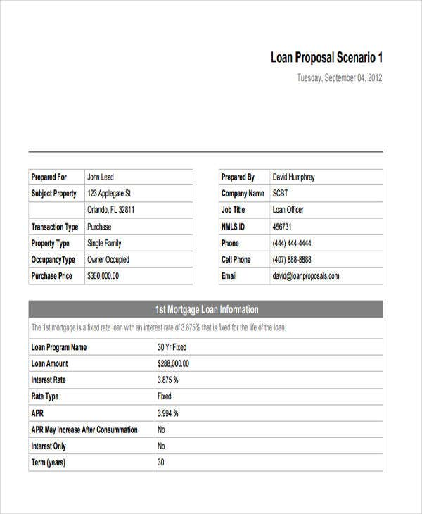 5 Loan Proposal Templates Word Pdf Pages Free Premium Templates