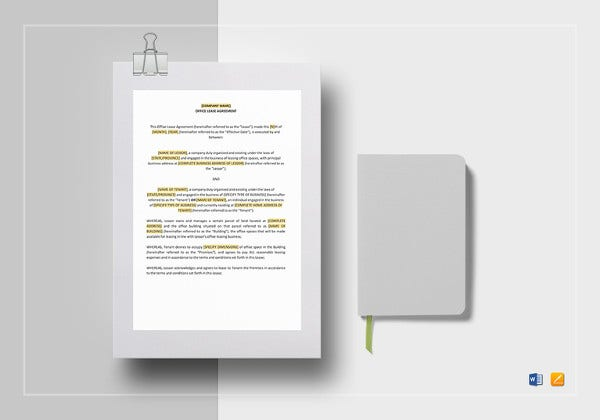 simple office lease agreement word template