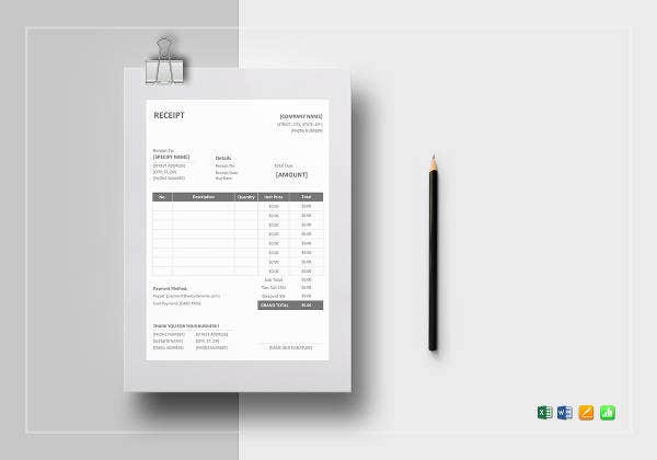 8 purchase receipt templates free premium templates