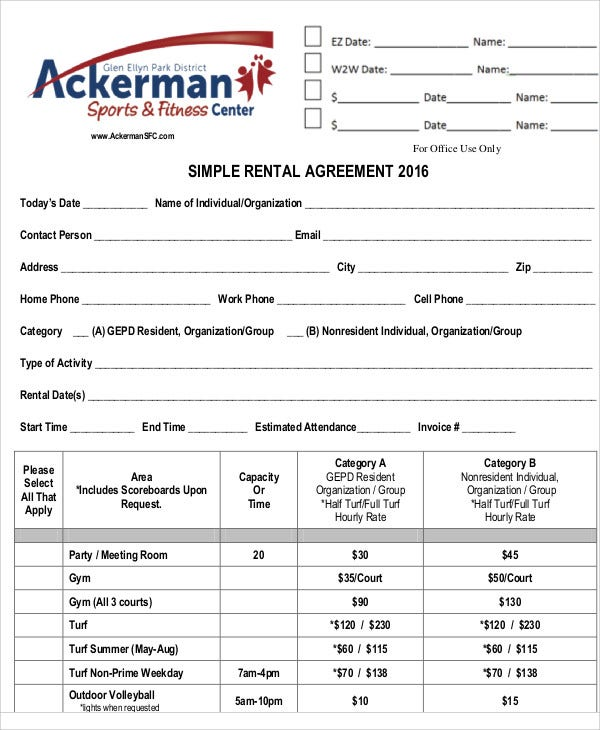 simple rental agreement