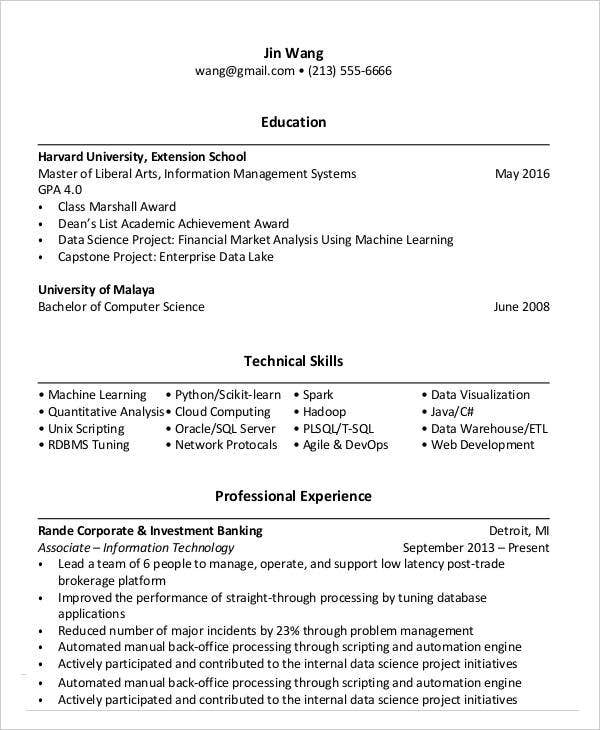 cloud computing resume