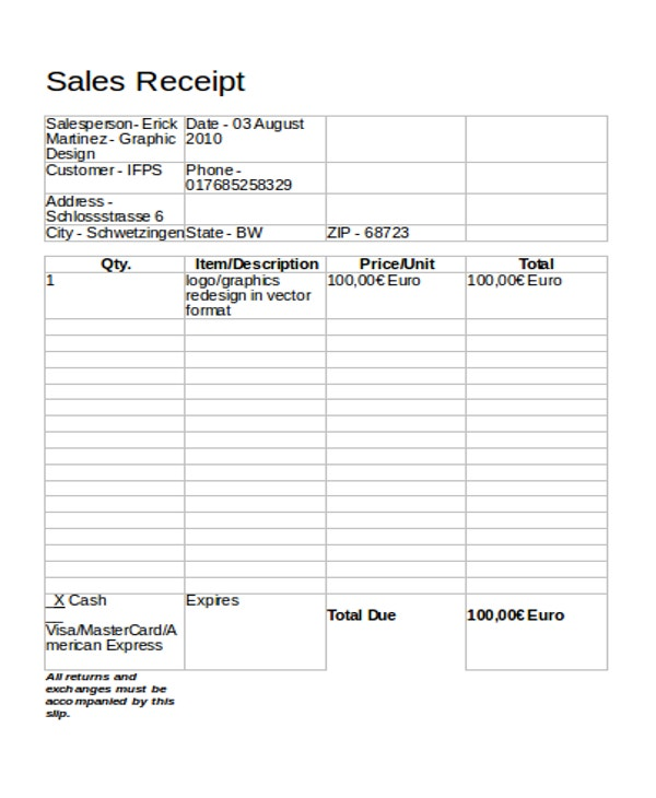 simple sales receipt format