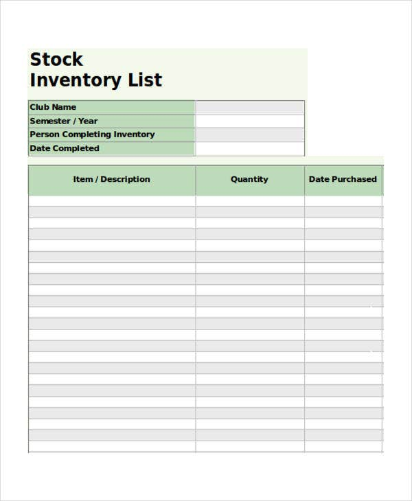 stock inventory template