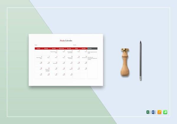 simple study calendar template