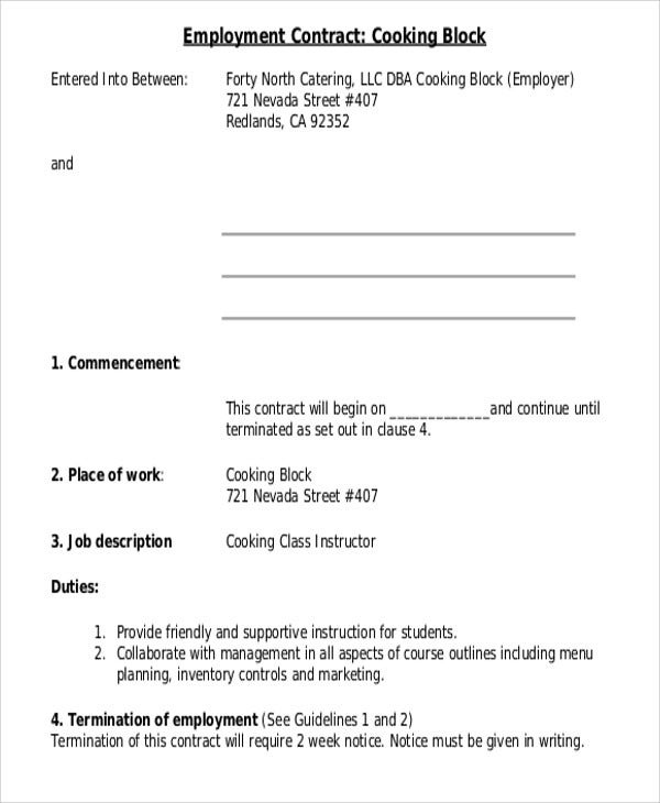 7+ Employee Contract Templates   Free Samples, Examples Format