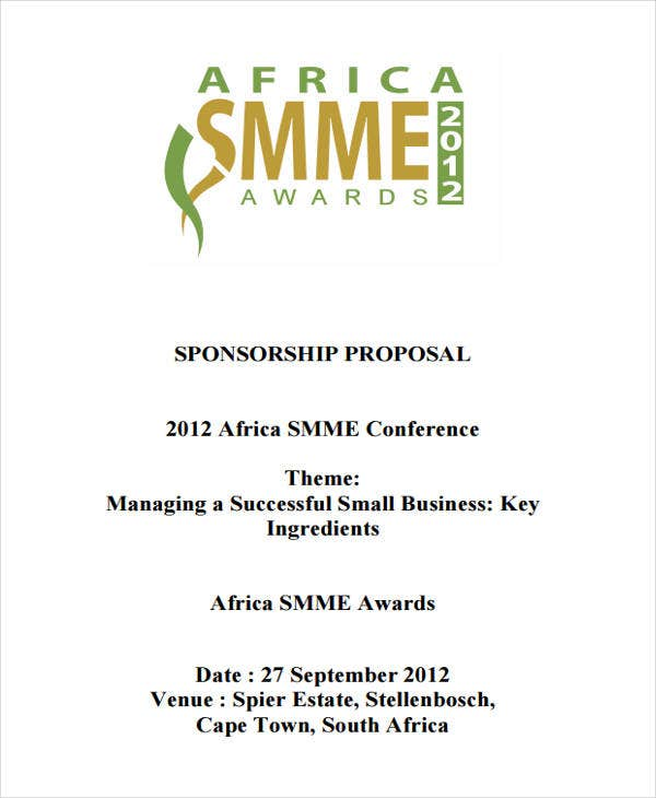 Small Business Sponsorship Proposal. Africagrowth.com. Details. File Format