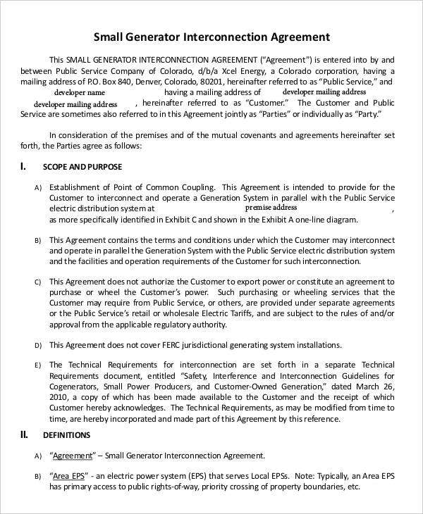 small generator agreement1