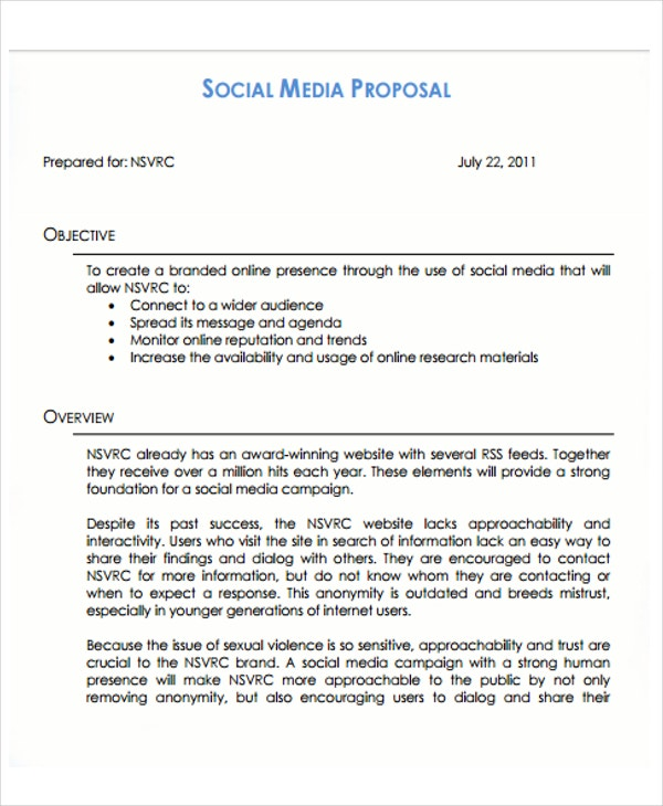 Social Media Proposal Templates Free Sample Example Format
