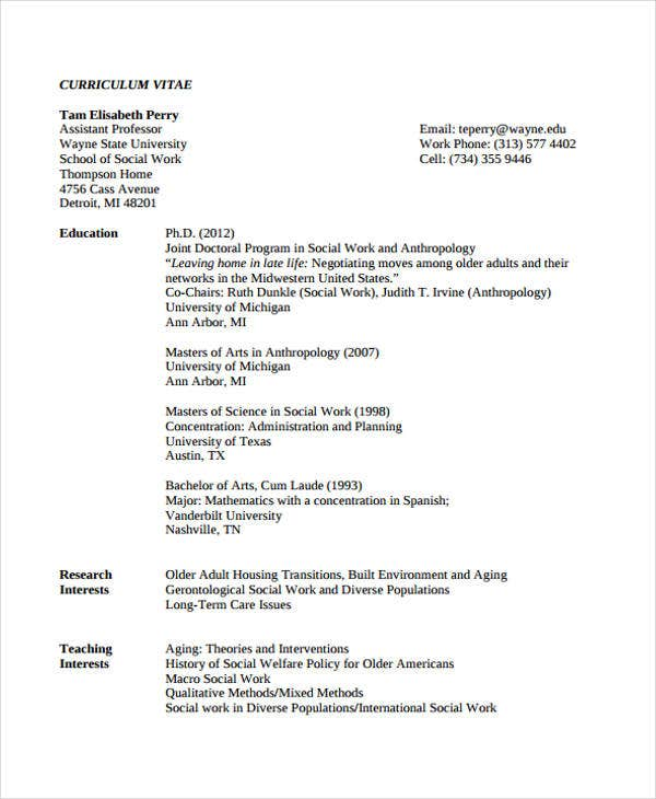 Social Worker Resumes Examples Examples Of Social Work Resumes