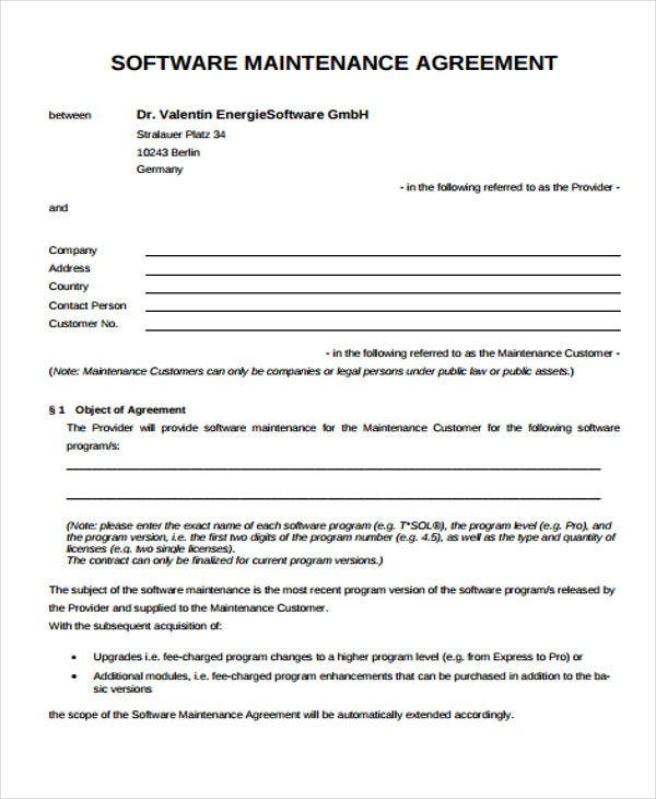 Maintenance Agreement Templates 9 Free Sample Example Format