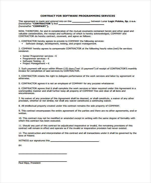 Software Contract  Project Contract Template