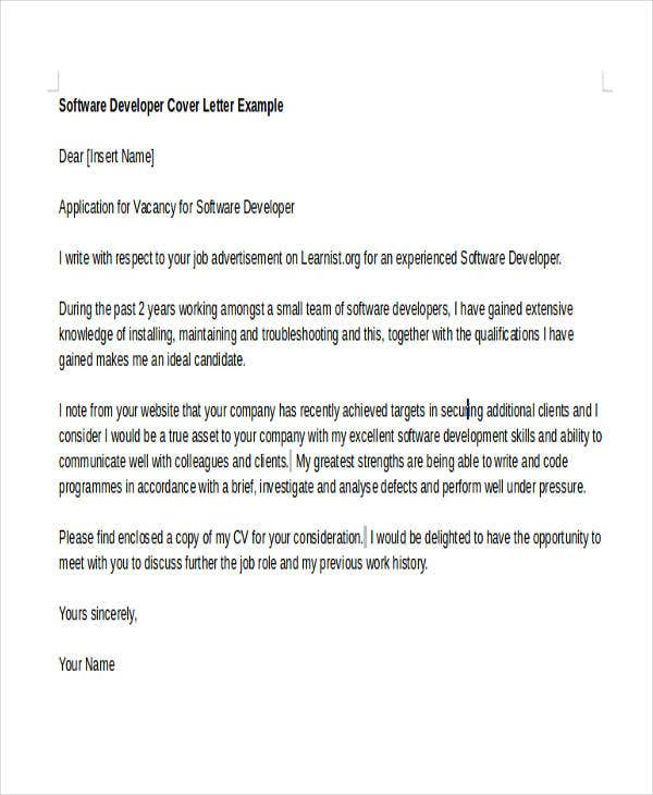 6 Software Developer Cover Letters Free Amp Premium Templates