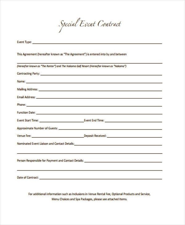 special-event-contract-template
