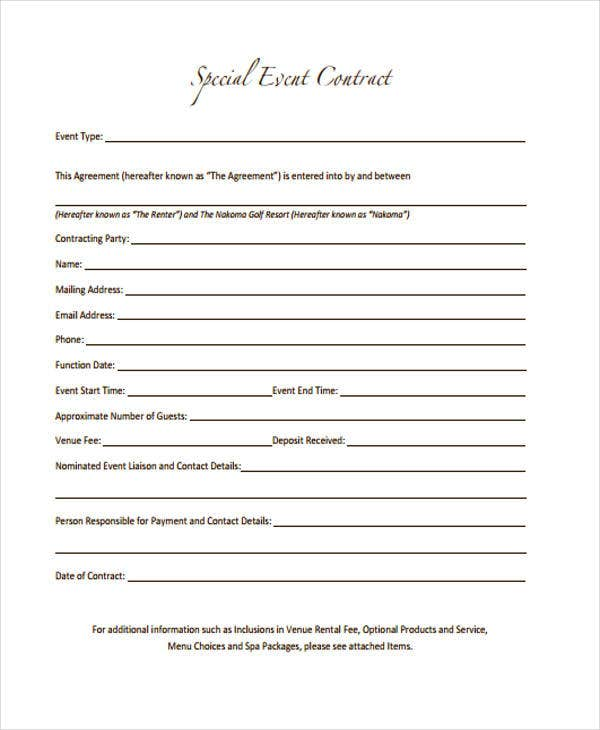 Event Contract Templates  Free Sample Example Format Download