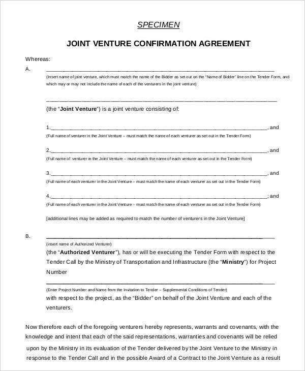 Specimen Joint Venture Confirmation Agreement