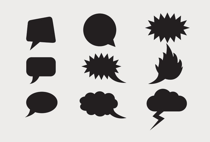 speech clouds shapes