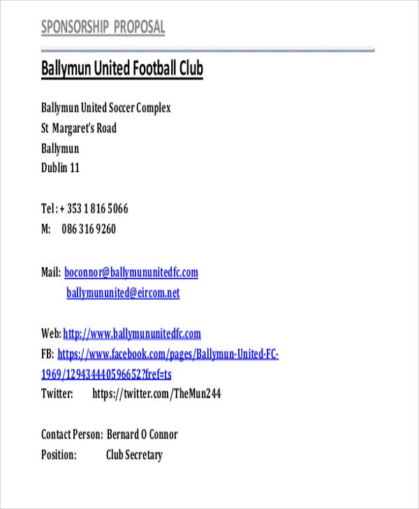 Sports Club Sponsorship  How To Write A Sponsorship Proposal Sample