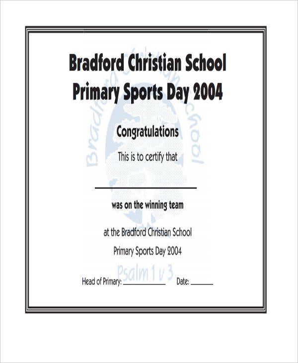Sports Day Certificate Template