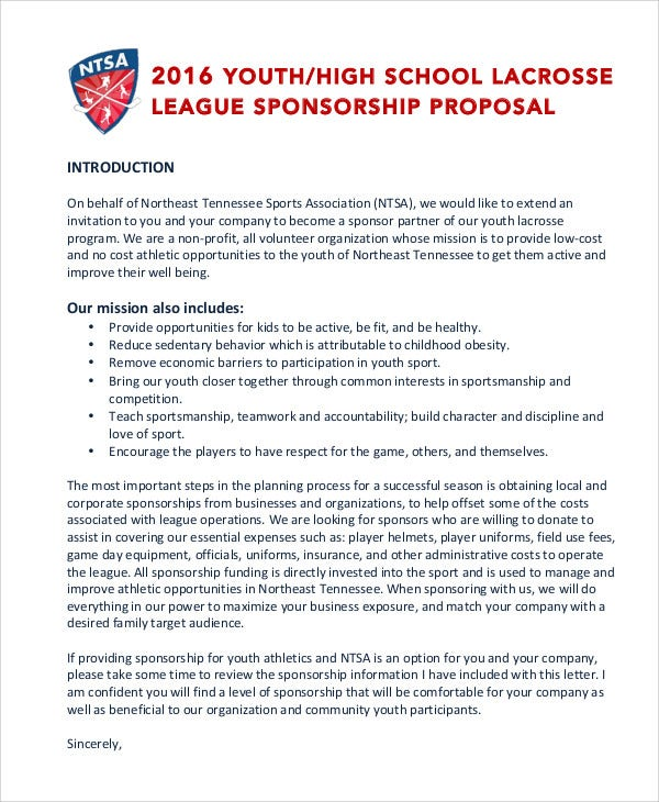 11 sports sponsorship proposal templates free sample for Sports team sponsorship proposal template