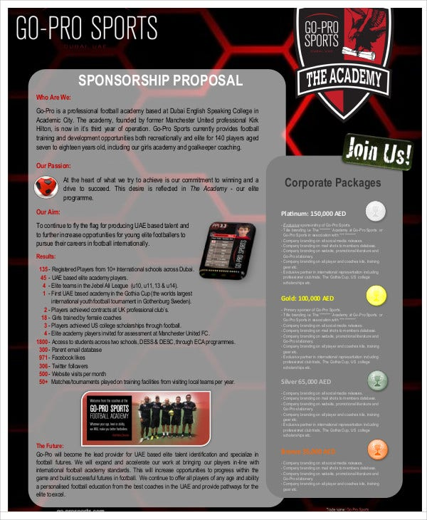 11+ Sports Sponsorship Proposal Templates - Word, PDF