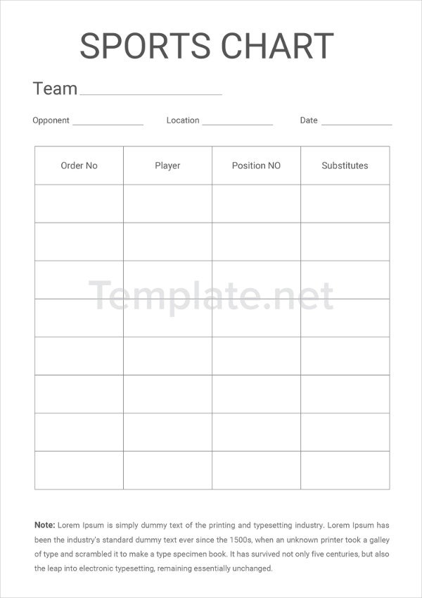 Sports Chart Templates
