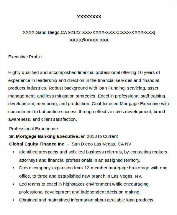Sr. Mortgage Banking Executive Resume