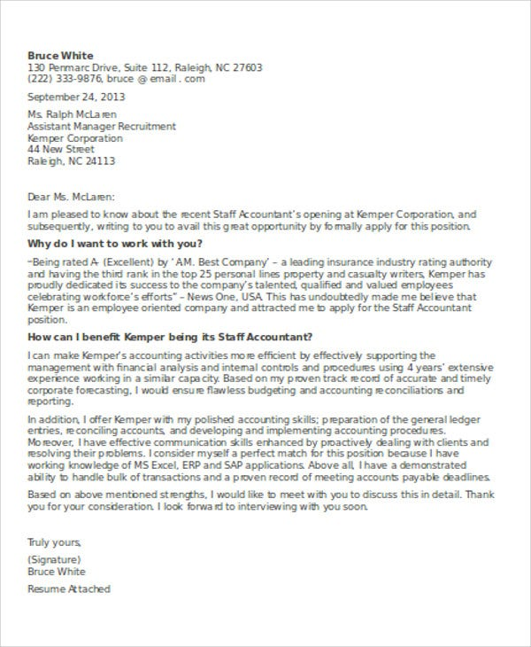 13+ Accounting Cover Letter - Word, PDF | Free & Premium Templates