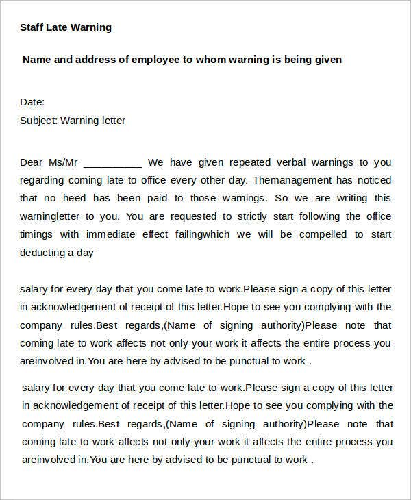 sample warning letter for late coming to work