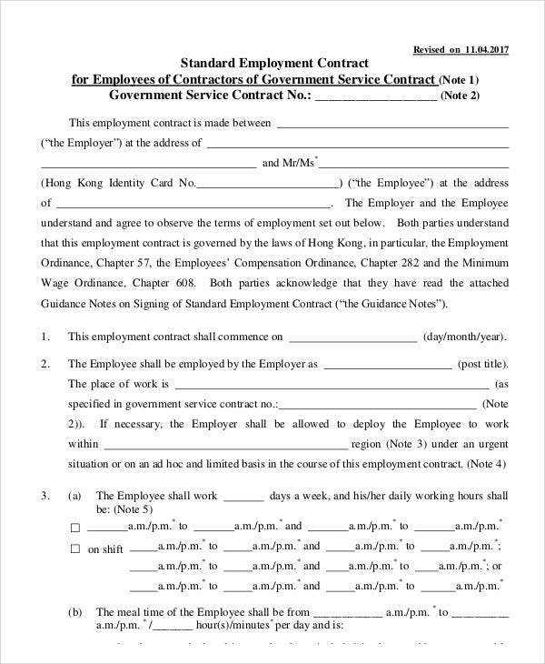 standard contract of employment template - 8 employment contract templates free sample example