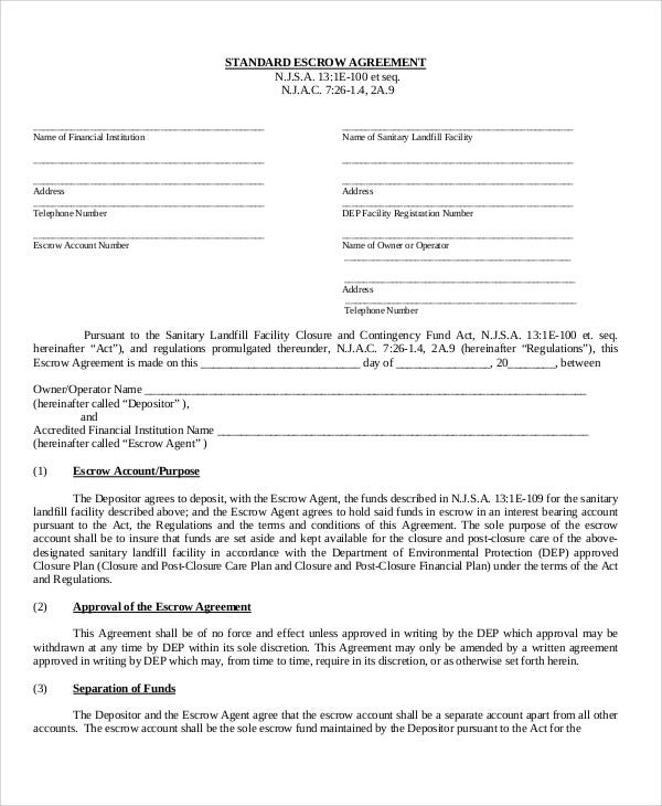 Escrow Agreement Templates 10 Free Word Pdf Format Download