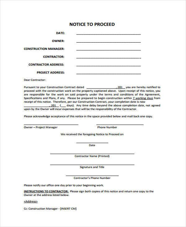 notice to proceed templates