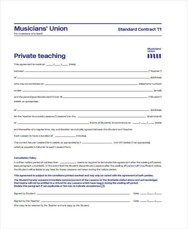 Standard Private Teacher Contract