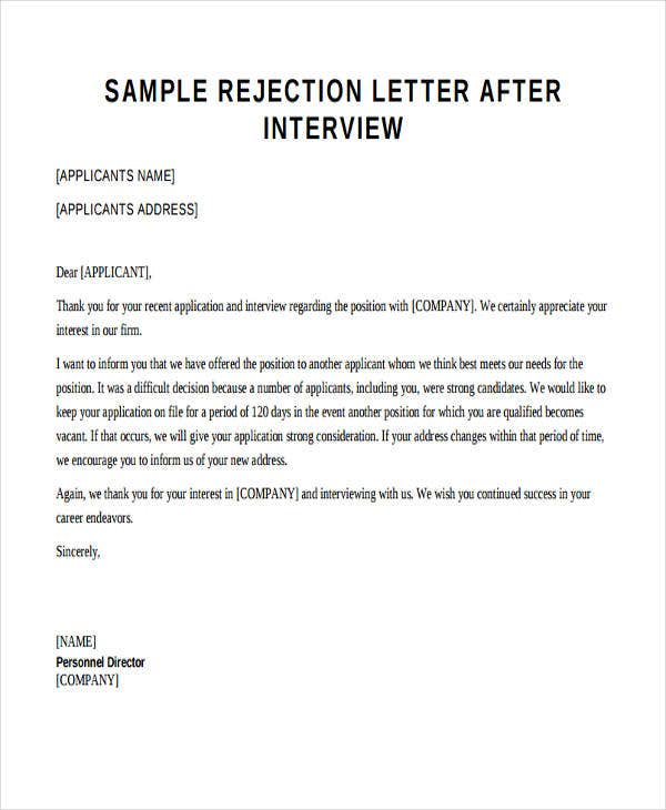 standard rejection letter in pdf