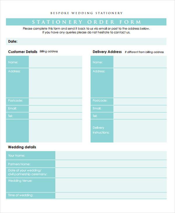 stationery order for wedding