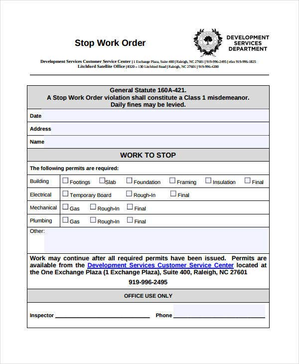 Work Order Templates Free PDF Format Download Free Premium - Stop work order template