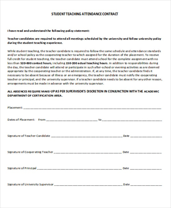 Student Contract Templates  Word Pdf  Free  Premium Templates