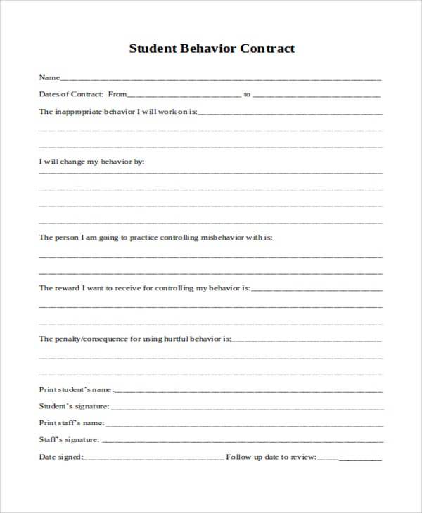 11 student contract templates word pdf free for Student contracts templates