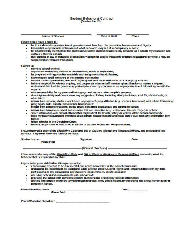 12 Student Contract Templates Free Sample Example Format