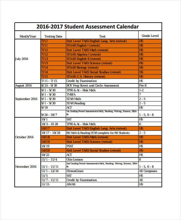 Assessment Calendar Templates  Sample Example  Free