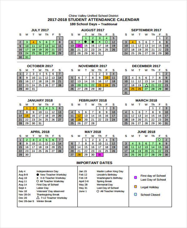 student calendar1