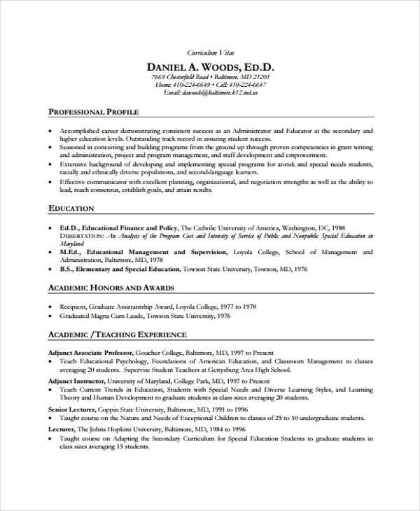 Professional Affiliations On Resumes: 6+ Education Curriculum Vitae Templates - PDF, DOC